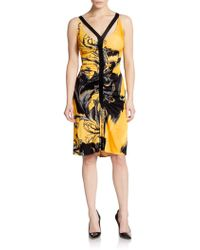 Versace Printed Ruched Jersey Dress - Lyst