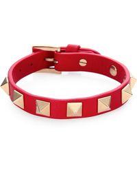 Valentino Rockstud Leather Turnlock Bracelet - Lyst