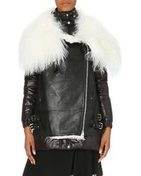 Sacai Quilted Leather Biker Jacket with Shearling Collar - Lyst