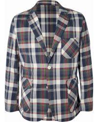 Beams Plus Cotton-Blend Madras Seersucker Suit Jacket - Lyst