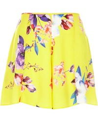 River Island Yellow Satin Floral Print Shorts - Lyst