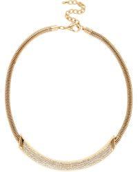 River Island Gold Tone Rhinestone Curved Necklace - Lyst