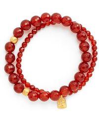 Satya Jewelry - Beaded Stretch Bracelets - Carnelian (set Of 2) - Lyst