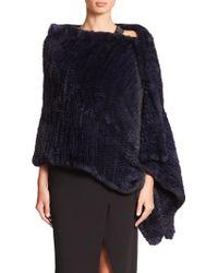 Halston Heritage   Convertible Knit Rabbit Fur Poncho   Lyst