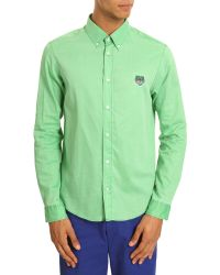 KENZO | Tigre Aqua Cotton Embroidered Shirt | Lyst