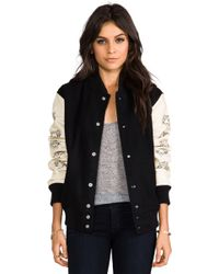 Love Leather - Lover Letterman Jacket in Black - Lyst