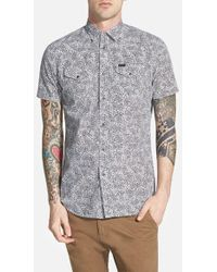 Diesel 'Sulfo' Extra Trim Fit Short Sleeve Paisley Print Woven Shirt gray - Lyst
