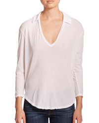 James Perse Cotton Jersey Top white - Lyst