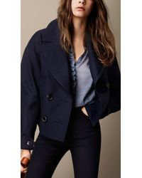 Burberry Cropped Oversize Pea Coat - Lyst