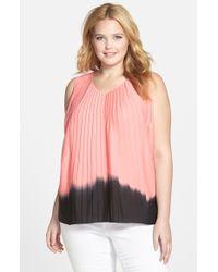 DKNY Dip Dye Sleeveless Pleat Front Blouse - Lyst