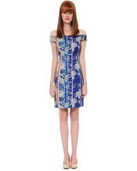 Kay Unger Off The Shoulder Daytime Print Dress - Lyst