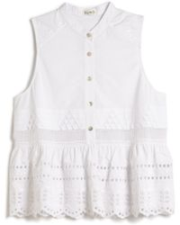 Suno Embroidered Babydoll Top white - Lyst