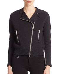 Burberry Brit Knit Moto Jacket - Lyst