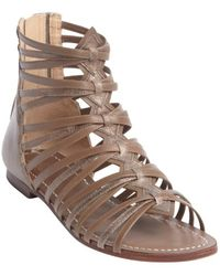 Belle By Sigerson Morrison Brown Leather Alpina Caged Strappy Sandals - Lyst