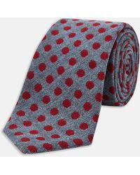 Turnbull & Asser | Slim Informalist Grey And Burgundy Spot Cashmere Blend Tie | Lyst