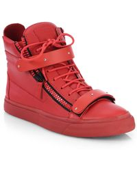Giuseppe Zanotti Matte Double-Bar High-Top Sneakers - Lyst