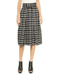 Joa Pleated Long Skirt in Checks  Black - Lyst