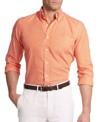Polo Ralph Lauren Striped Poplin Sportshirt - Lyst