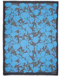 Balenciaga Blue Garden Flower Silk-Modal Blend Scarf - Lyst