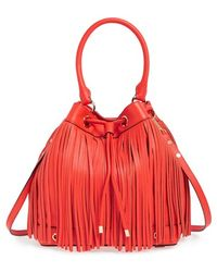 Milly Women'S 'Essex' Fringed Leather Bucket Bag - Red - Lyst