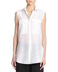 Helmut Lang Sleeveless Cotton & Silk Shirt - Lyst