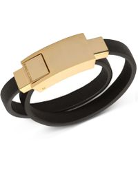 Anne Klein - Gold-tone Black Leather Charging Cable Wrap Bracelet - Lyst