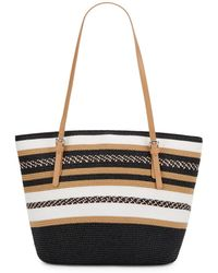 Saks Fifth Avenue Striped Straw Tote Bag - Lyst