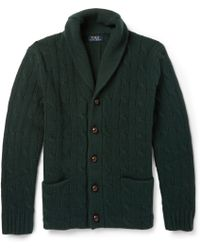 Polo Ralph Lauren Cable-Knit Wool Shawl-Collar Cardigan - Lyst