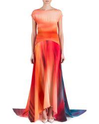 Zac Zac Posen Miriam Short-Sleeve Ombre-Print Handkerchief Gown - Lyst