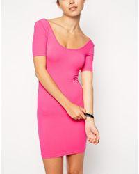 American Apparel Jersey Double-U Neck Mini Dress purple - Lyst