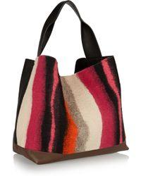 Marni Pod Leather and Wool-felt Tote - Lyst