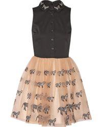 Alice + Olivia Preena Appliquéd Stretch-Cotton And Tulle Mini Dress - Lyst