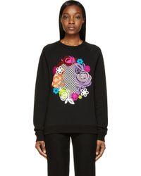 Christopher Kane Black Floral Graphic Sweatshirt - Lyst