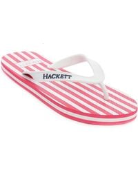 Hackett Red Striped Bengale Flip Flops - Lyst