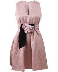 Lanvin V-Neck Grosgrain Floral Dress pink - Lyst
