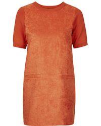Topshop Suede Front Shift Dress - Lyst