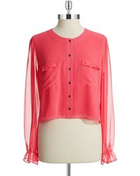 Guess Pink Cropped Blouse - Lyst