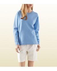 Gucci Light Blue Stretch Viscose Oversized Top - Lyst