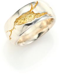 Cast Of Vices - 14k Gold & Sterling Silver Cracked Band Ring - Lyst