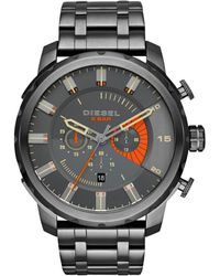 Diesel Men'S Chronograph Stronghold Gunmetal Ion-Plated Stainless Steel Bracelet Watch 48Mm Dz4348 gray - Lyst