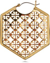 Tory Burch Perforated Logo Earrings - Lyst