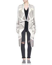 Vince Graphic Knit Wool-Alpaca Blend Drape Cardigan gray - Lyst