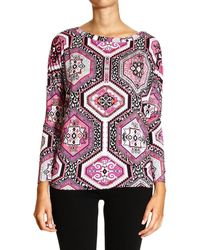 Emilio Pucci T-shirt Long Sleeve Over Jersey Print Suzani - Lyst