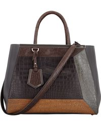 Fendi 2Jours Medium Colorblock Crocodile Tote Bag - Lyst