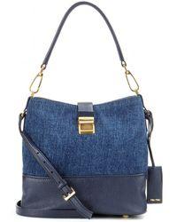 Miu Miu Leather And Denim Bucket Bag - Lyst
