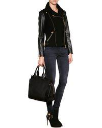 Emilio Pucci Stretch Wool/Leather Biker Jacket - Lyst