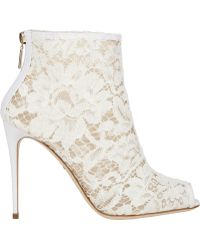 Dolce & Gabbana Lace Peep-Toe Booties - Lyst