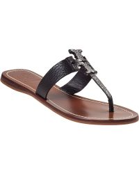 Tory Burch Moore Thong Sandal Black Leather - Lyst