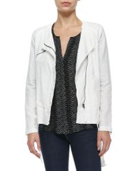 Michael Stars Solid Linen Anorak Hooded Jacket In White
