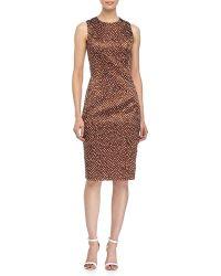 Michael Kors Sleeveless Mini-Dot Print Sheath Dress - Lyst